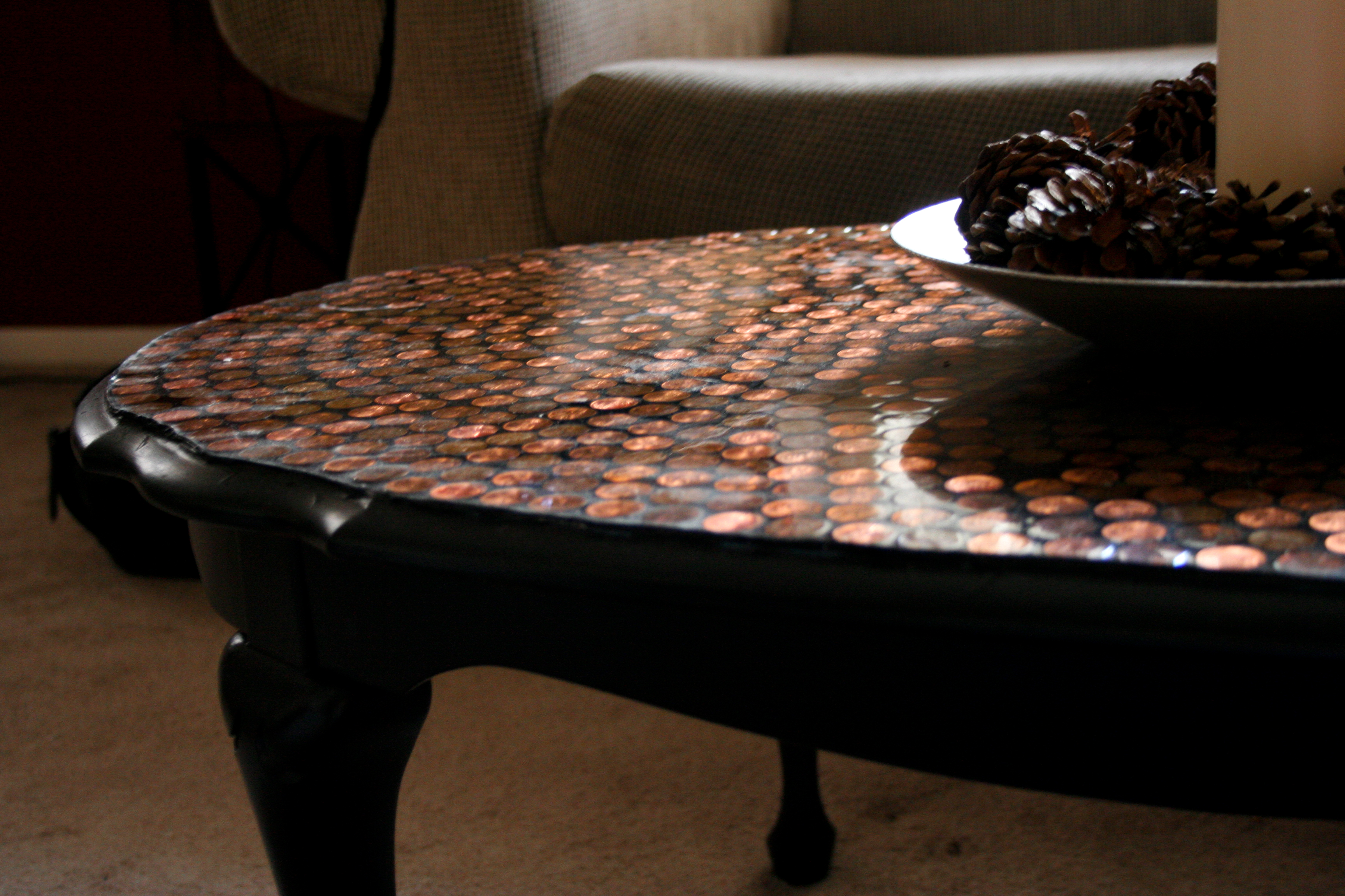 DIY Penny Tiled Table